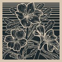 Linoleografia di fiori nel deserto vettore