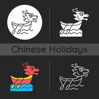 icona del tema scuro del festival della barca del drago vettore