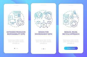 strategie di riduzione dei rifiuti tossici che integrano la schermata della pagina dell'app mobile con concetti vettore