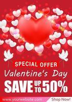 banner di biglietto di auguri di vendita dello shopping di san valentino vettore