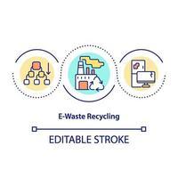 icona del concetto di riciclaggio dei rifiuti elettronici vettore
