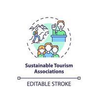 icona del concetto di associazioni di turismo sostenibile vettore