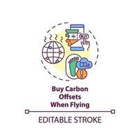 acquistare compensazioni di carbonio durante il volo dell'icona del concetto vettore