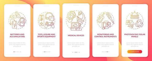 gruppi di rottami elettronici che accedono alla schermata della pagina dell'app mobile con concetti vettore