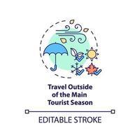 viaggiare al di fuori dell'icona del concetto di stagione turistica principale vettore