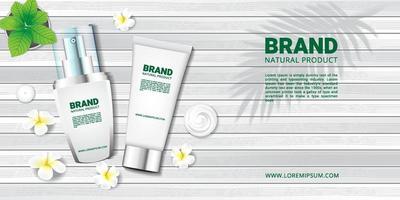 cosmetici e spa su pavimento in legno bianco e fiori per la pubblicità vettore
