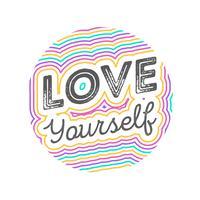 Illustrazione piana di vettore di stile di tipografia dell'iscrizione di amore voi stessi