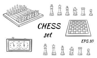 pezzi degli scacchi del fumetto. vettore re, regina vescovo e torre di cavallo pedone. scacchiera, orologio. figure. set di scacchi adesivi.