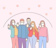 salute, coronavirus, ncov, covid, concetto di set di protezione. folla di persone che indossano banner di maschere mediche. misure preventive, protezione umana dallo scoppio di polmonite. vettore
