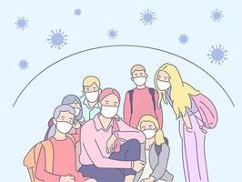 coronavirus, protezione, concetto di rischio biologico. una giovane insegnante e i suoi scolari mascherati si proteggono dal virus. misure preventive dalla malattia covid19 e dal rischio biologico 2019ncov. vettore