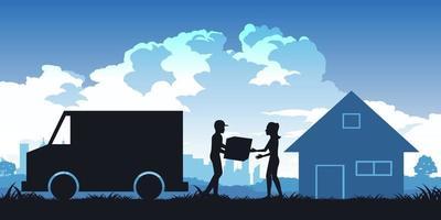 silhouette di donna che riceve il pacco da messenger vettore