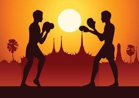 thailandia arti marziali in scenografia, design silhouette vettore