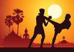 thailandia arti marziali nella scenografia vettore