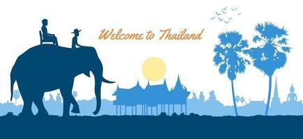 persone su elefante durante il viaggio in thailandia vettore