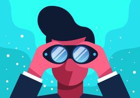 Uomo che guarda con binoculare