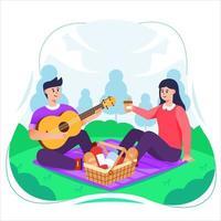 coppie che hanno picnic nel parco vettore