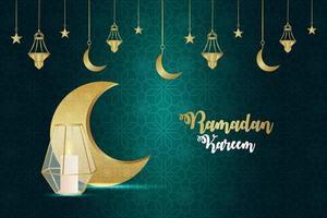 biglietto di auguri invito ramadan kareem con luna dorata e lanterna creativa su sfondo pattern vettore