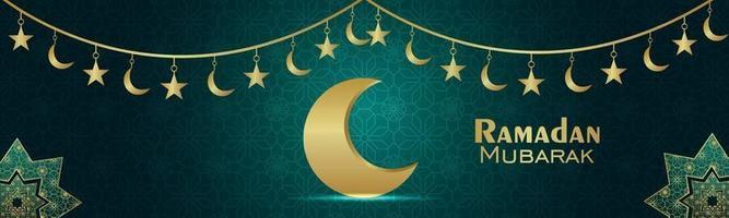 banner festival islamico di ramadan kareem con lanterna araba e sfondo pattern vettore