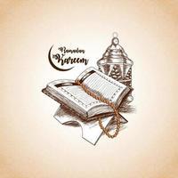 ramadan kareem mano disegnare illustrazione vettoriale e lo sfondo