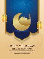 volantino di invito felice anno nuovo islamico muharram con luna e lanterna dorate realistiche vettore