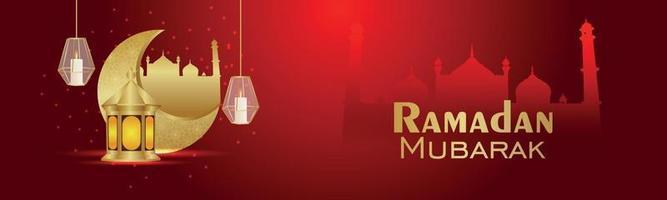 banner creativo di sfondo invito ramadan kareem con luna e lanterna realistiche creative vettore