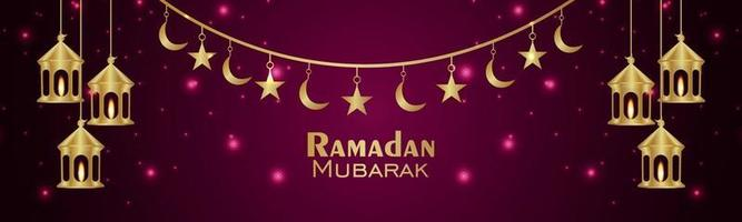 biglietto di auguri di celebrazione del ramadan kareem con lanterna creativa vettore