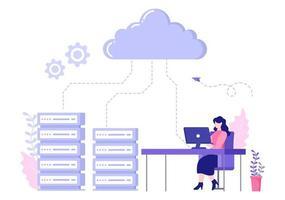 computer cloud server che ospita archiviazione illustrazione della tecnologia di trasmissione dati e protezione con l'amministratore o il team di sviluppatori vettore