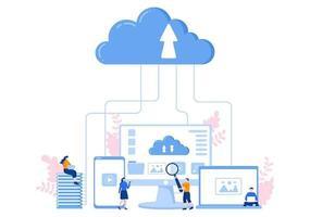 archiviazione dati su cloud che ospita illustrazione di ricerca per statistiche di database di informazioni e analisi di ricerca vettore