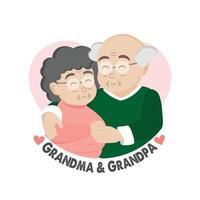 biglietto di auguri felice giorno dei nonni. personaggi dei cartoni animati della nonna e del nonno. vettore