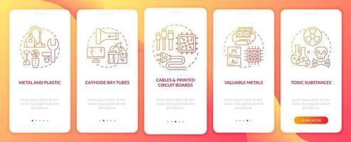 elementi di scarto elettronico nella schermata della pagina dell'app mobile con concetti vettore