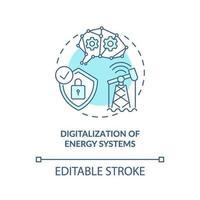 icona del concetto di digitalizzazione dei sistemi energetici vettore