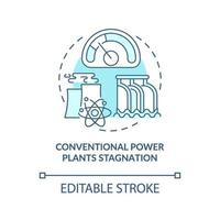 icona del concetto di stagnazione delle centrali elettriche convenzionali vettore