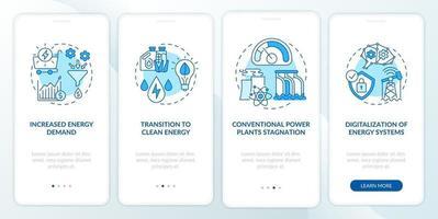 tendenze energetiche onboarding schermata della pagina dell'app mobile con concetti vettore
