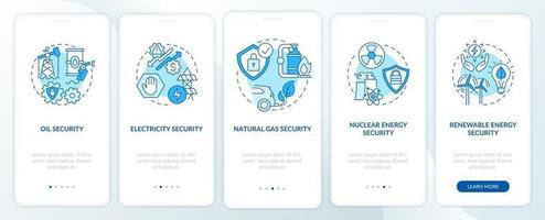 tipi di sicurezza energetica onboarding schermata della pagina dell'app mobile con concetti vettore