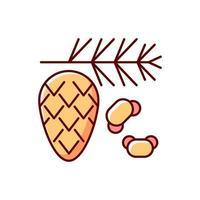 icona di colore rgb di polline di cedro e pino vettore