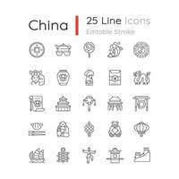Cina icone lineari impostate vettore