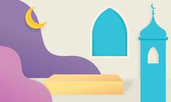Illustrazione 3d del fondo di visualizzazione del prodotto a tema islamico musulmano vettore