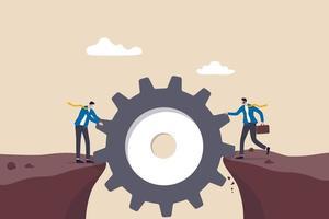 gestione del rischio, idea imprenditoriale per superare difficoltà o lavoro di squadra per raggiungere il concetto di obiettivo, uomo d'affari aiuta a costruire attrezzi o ingranaggi come ponte per camminare sulle scogliere di pericolo. vettore