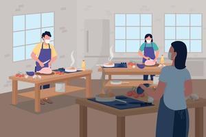 lezione di cucina durante l'illustrazione sociale di vettore di colore piatto di allontanamento