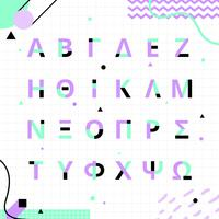 Set di alfabeto greco stile Memphis