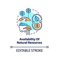 icona del concetto di disponibilità di risorse naturali vettore