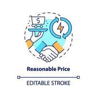 icona di concetto di prezzo ragionevole vettore