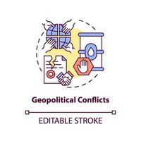 icona del concetto di conflitti geopolitici vettore