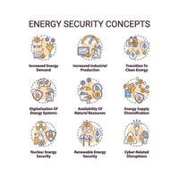 set di icone di concetto di sicurezza energetica vettore