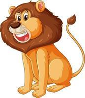 personaggio dei cartoni animati di leone in posa seduta isolato vettore