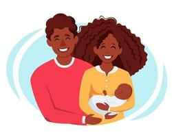 felice famiglia nera con neonato. famiglia afro americana. illustrazione vettoriale