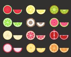 set di frutta. frutti tropicali ed esotici. illustrazione vettoriale