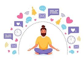 disintossicazione delle informazioni e meditazione. uomo meditando nella posa del loto. concetto di disintossicazione digitale. illustrazione vettoriale. vettore