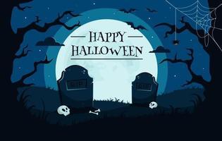 felice sfondo di halloween con cimitero, teschi, luna piena, mano di zombi, alberi, pipistrelli. vettore