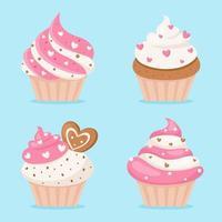cupcakes di San Valentino. illustrazione vettoriale